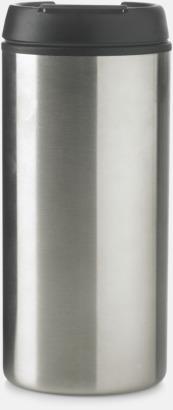 Silver Muggar med lock för bilen eller tunnelbanan - med tryck