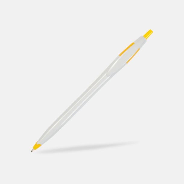 Vit/Gul Riktigt billiga bläckpennor med tryck