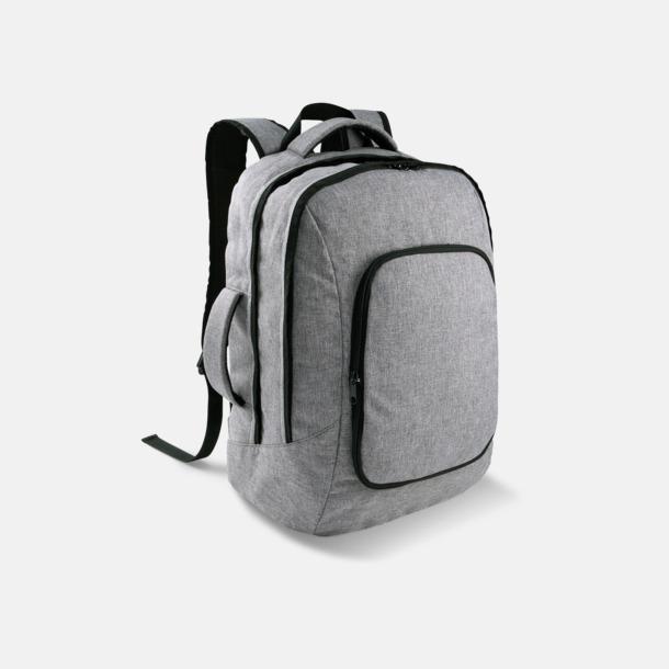 Grey Melange Snygga laptopväskor med ryggremmar - med tryck