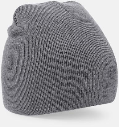 Graphite Grey Rak, stickad mössa med brodyr