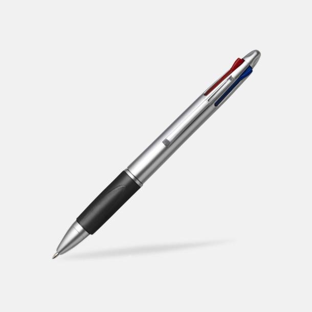 Svart/Silver Penna med 4 bläckfärger - med tryck