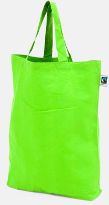 Korta handtag Grön Färgglada kassar som är ekologiska och Fairtrade-certifierade - med reklamtryck