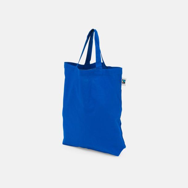 Korta handtag Blå Färgglada kassar som är ekologiska och Fairtrade-certifierade - med reklamtryck