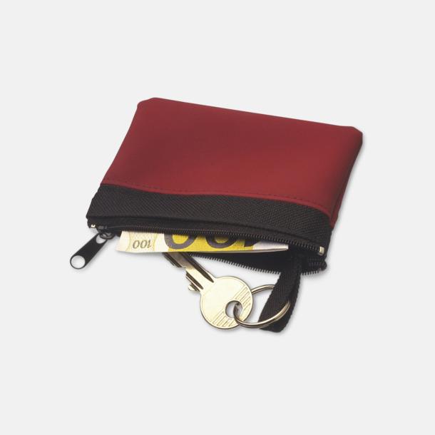 Små plånböcker med nyckelringar i mörka färger med reklamtryck