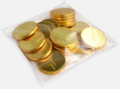 Förpackning med 20 mynt Chokladmynt i mindre format med prägling