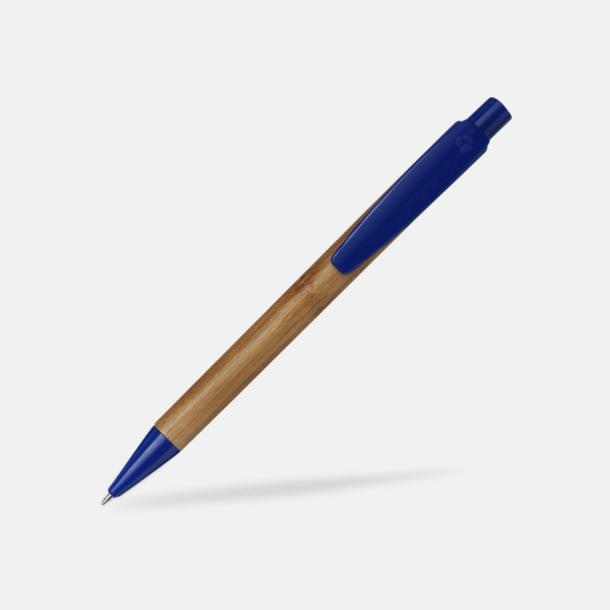 Blå / Ljust trä Bläckpennor i bambu med tryck