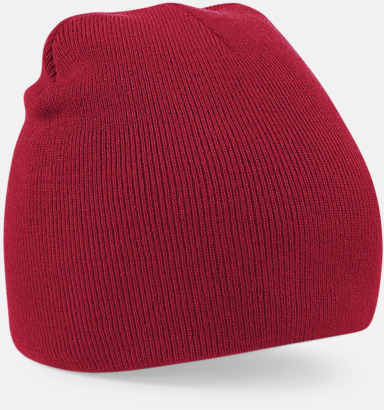 Classic Red Rak, stickad mössa med brodyr