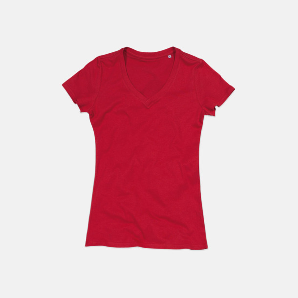 Pepper Red (v-neck dam) Ekologiska t-shirts i flera modeller och många färger - med reklamtryck