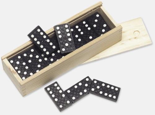 Ljust trä / Svart Dominospel med eget tryck