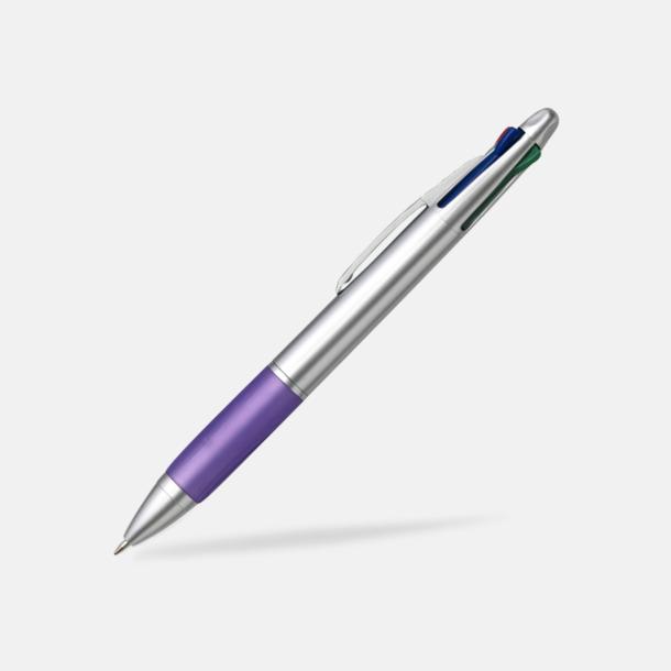 Lila/Silver Penna med 4 bläckfärger - med tryck