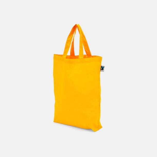 Korta handtag Orange Färgglada kassar som är ekologiska och Fairtrade-certifierade - med reklamtryck