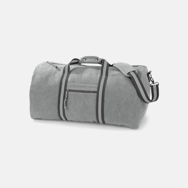 Vintage Light Grey Vintagebagar med reklamtryck