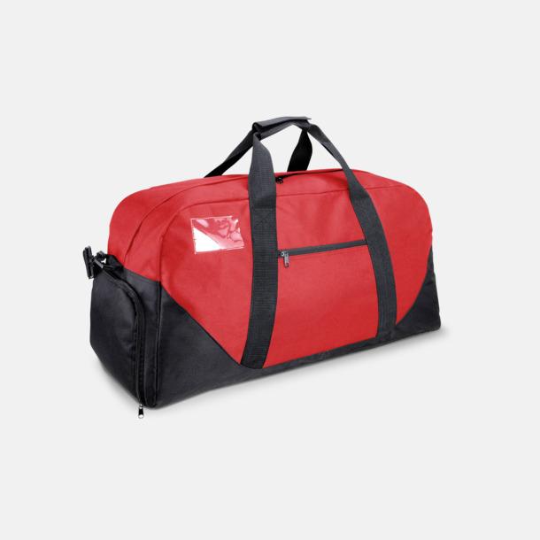 Röd/Svart Res- och sportväska med skoficka - med tryck