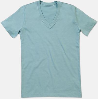 Frosted Blue (v-neck herr) Ekologiska t-shirts i flera modeller och många färger - med reklamtryck