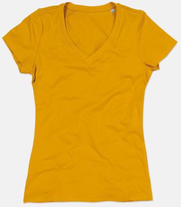 Indian Yellow (v-neck dam) Ekologiska t-shirts i flera modeller och många färger - med reklamtryck
