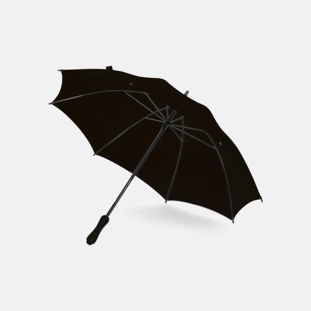 Svart Paraplyer med bärremmar - med tryck