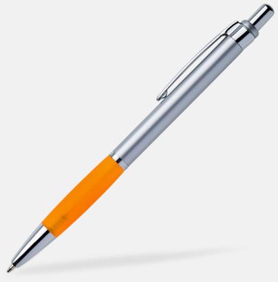 Silver/orange Billiga kulspetspennor med gummerat grepp