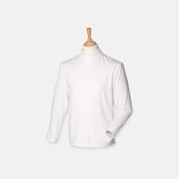 Vit Långärmade t-shirts i herrmodell med reklamtryck
