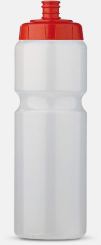 Transparent/Röd (75 cl) Kompakta vattenflaskor i 2 storlekar med reklamtryck
