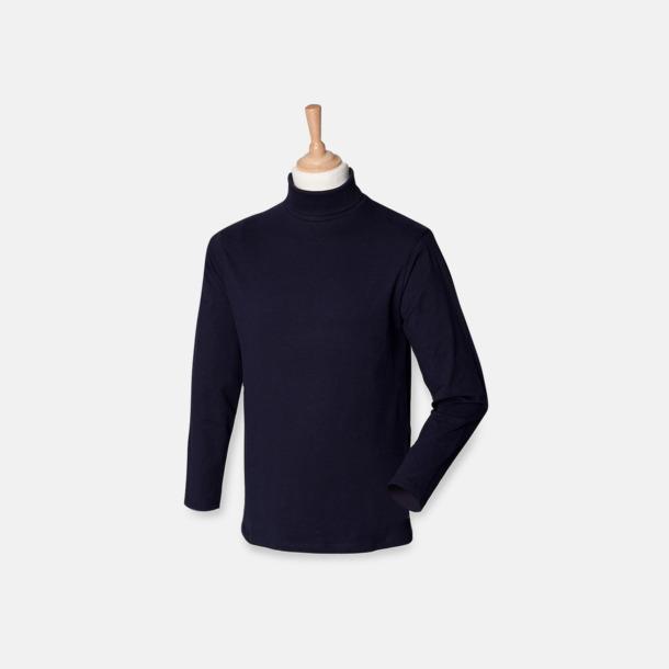 Marinblå Långärmade t-shirts i herrmodell med reklamtryck