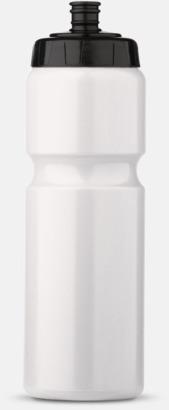 Vit/Svart (75 cl) Kompakta vattenflaskor i 2 storlekar med reklamtryck