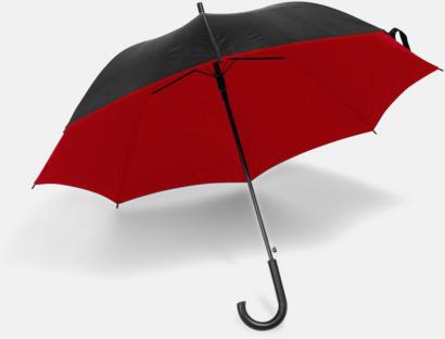 Svart / Röd Svarta paraplyer med färgad undersida - med reklamtryck