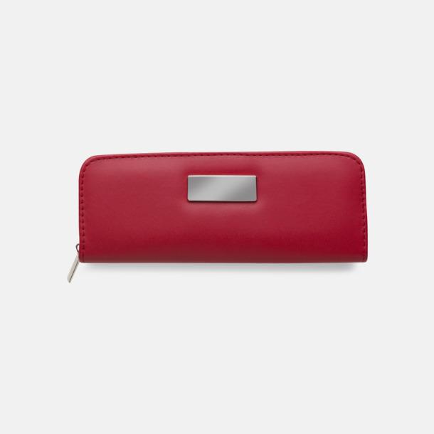 Röd Pennset i fodral med metallplatta - med reklamtryck