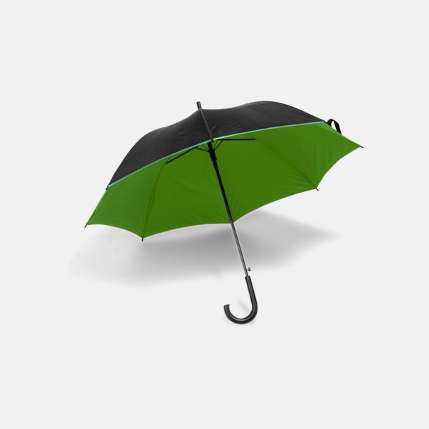 Svart / Grön Svarta paraplyer med färgad undersida - med reklamtryck