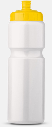 Vit/Gul (75 cl) Kompakta vattenflaskor i 2 storlekar med reklamtryck