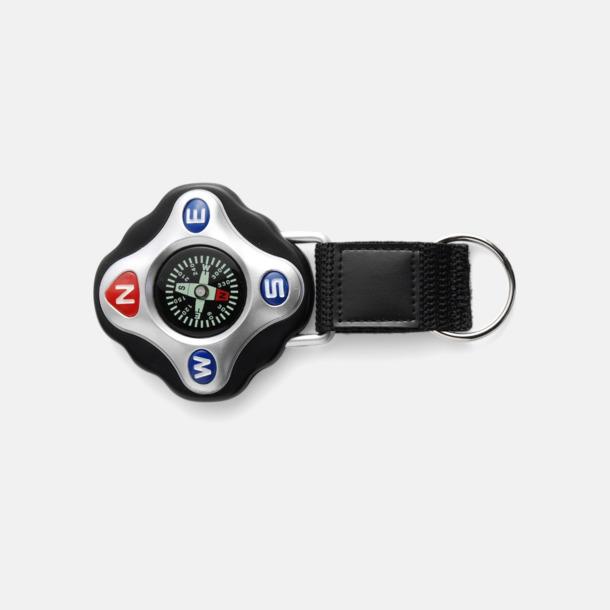 Svart Kompass med rem och nyckelring - med reklamtryck