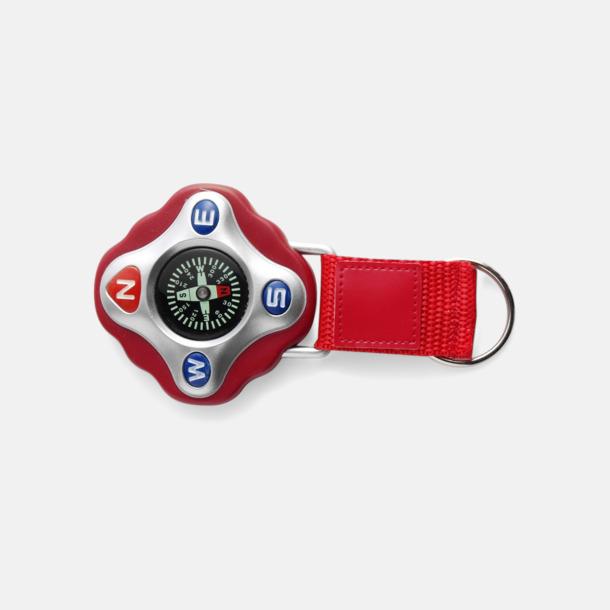 Röd Kompass med rem och nyckelring - med reklamtryck