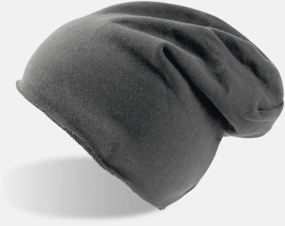 Mörkgrå Varma beanie-mössor med tryck eller brodyr