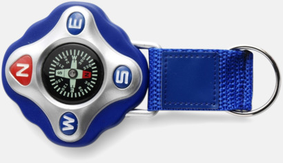 Blå Kompass med rem och nyckelring - med reklamtryck