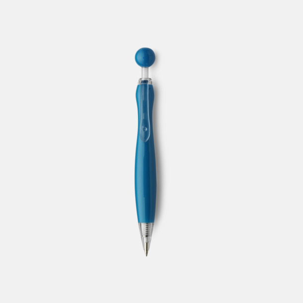 Blå/Transparent Billiga bläckpennor i unik design med reklamtryck