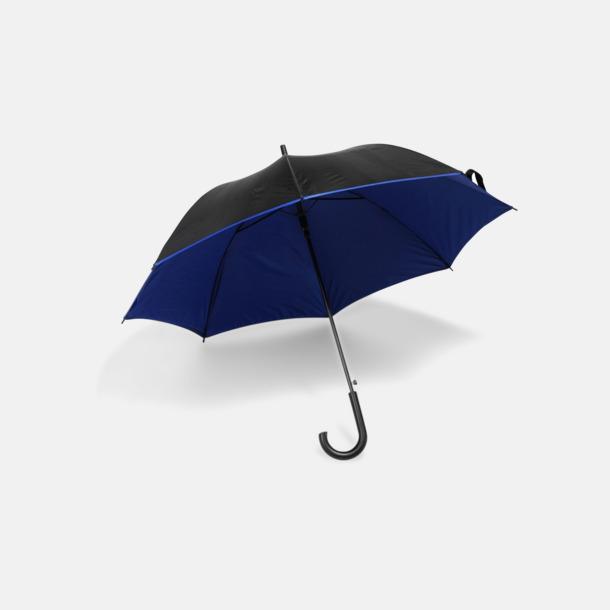 Svart / Blå Svarta paraplyer med färgad undersida - med reklamtryck