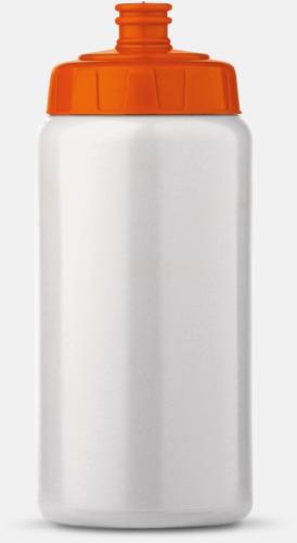 Vit/Orange (50 cl) Kompakta vattenflaskor i 2 storlekar med reklamtryck