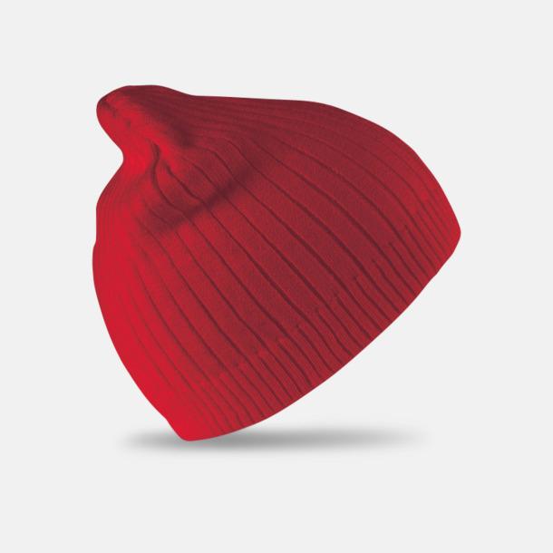 Röd Dubbelstickade beanie mössor i bomull - med reklambrodyr