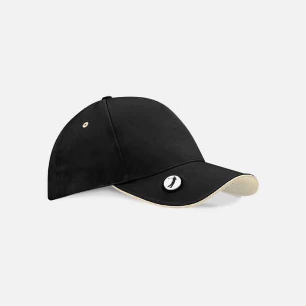 Svart/Putty Golfkepsar i ball mark-modell - med tryck