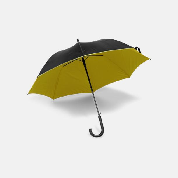 Svart / Gul Svarta paraplyer med färgad undersida - med reklamtryck
