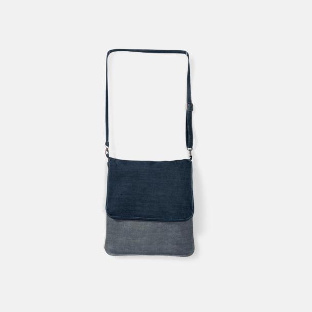 Deep Blue Denim Axelväska av jeanstyg med reklamtryck