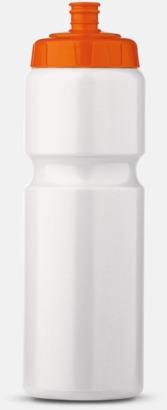 Vit/Orange (75 cl) Kompakta vattenflaskor i 2 storlekar med reklamtryck