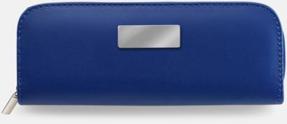 Blå Pennset i fodral med metallplatta - med reklamtryck