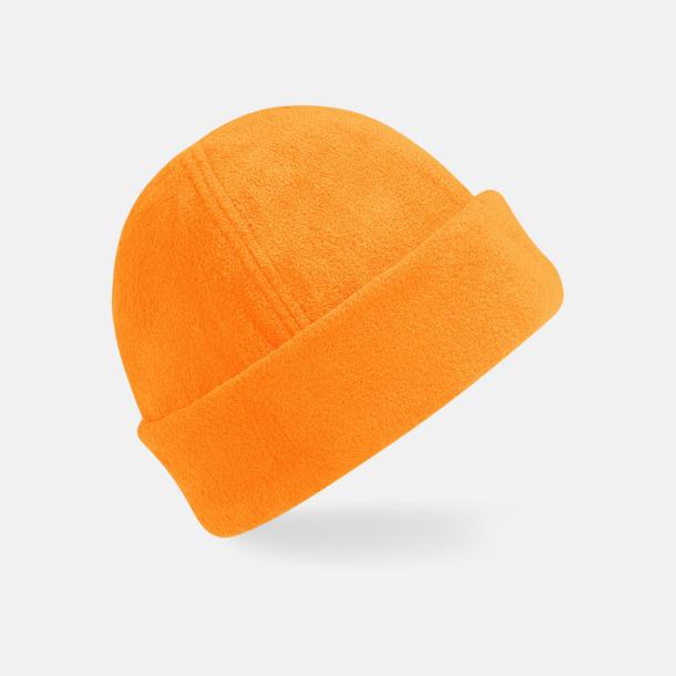 Fluorescerande Orange Tjocka fleecemössor med reklambrodyr