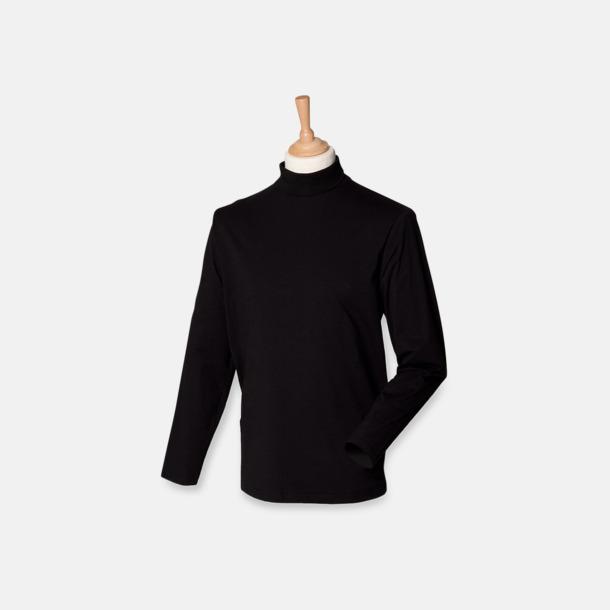 Svart Långärmade t-shirts i herrmodell med reklamtryck