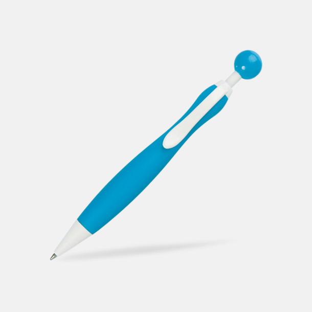 Ljusblå/Vit Billiga bläckpennor i unik design med reklamtryck