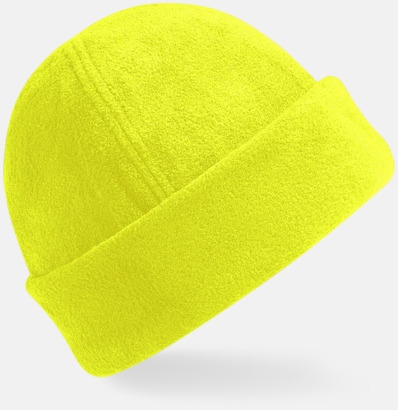 Fluorescerande Gul Tjocka fleecemössor med reklambrodyr