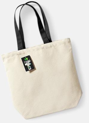 Natur / Svart Exklusiva tygpåsar av Fairtrade-certifierad bomull - med reklamtryck