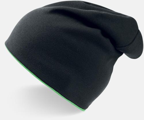 Svart/Green Fluo In och ut-vändbara beanies med brodyr