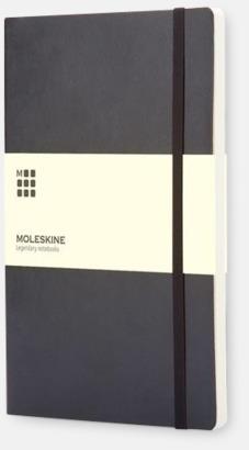 Svart (plain) Moleskines mjuka anteckningsböcker i mindre format - med reklamtryck