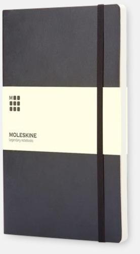 Svart (plain) Moleskines mjuka anteckningsböcker i mindre format (ca A6) - med reklamtryck